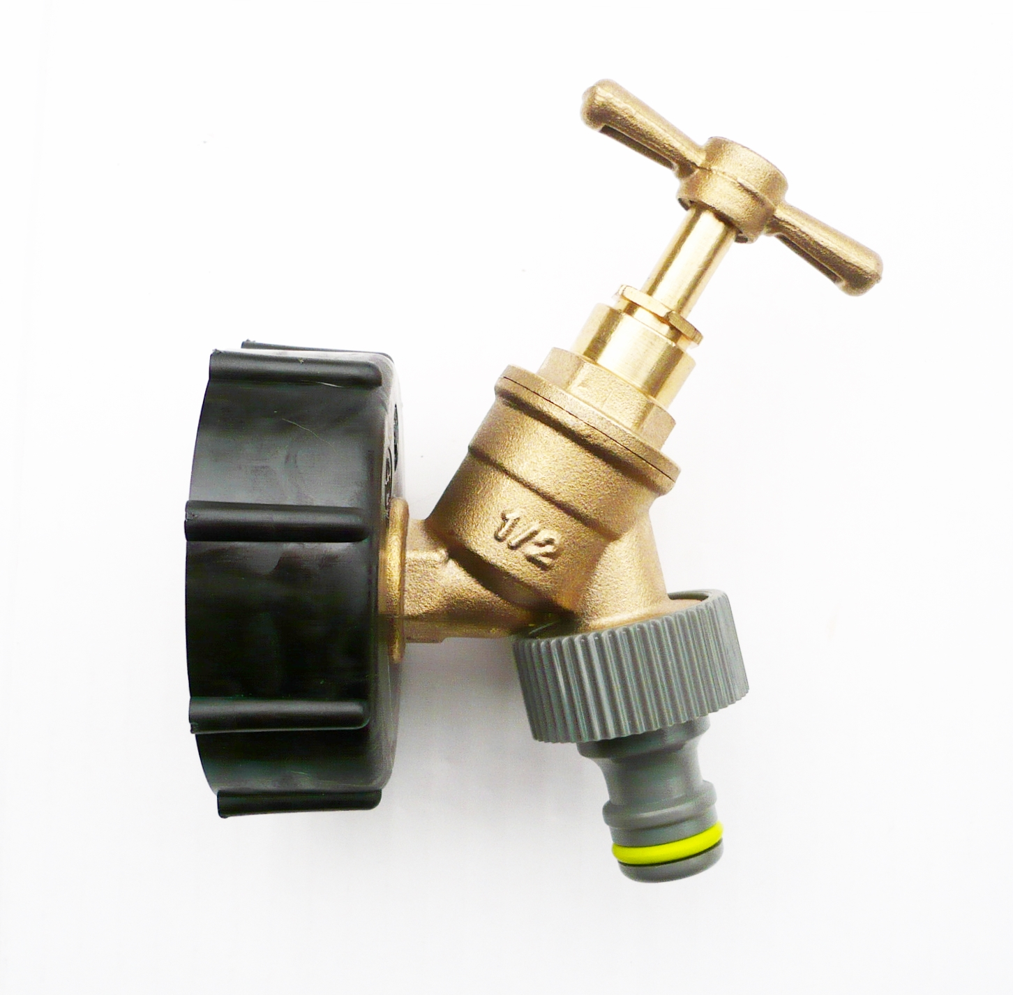 Ibc tank cap with brass tap quot snap on connector water