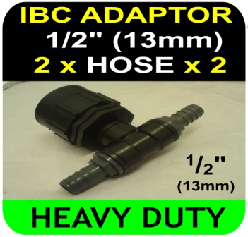 IBC ADAPTER to 13mm Hose Double Equal Hosetail Hose Connector