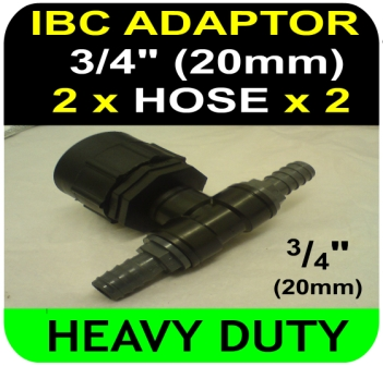 IBC ADAPTOR to 20mm Hose Double Equal Hosetail Hose Connector