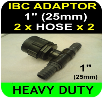 IBC ADAPTER to 25mm Hose Double Equal Hosetail Hose Connector