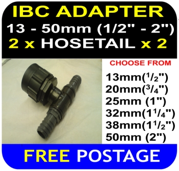 IBC ADAPTER to 38mm Hose Double Equal Hosetail Hose Connector