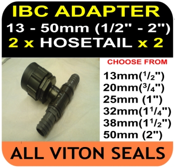 IBC ADAPTER to 50 mm Hose Double Equal Hosetail Hose Connector