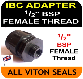 IBC ADAPTOR to Double Equal 0.5 half 1/2 inch BSP FEMALE thread