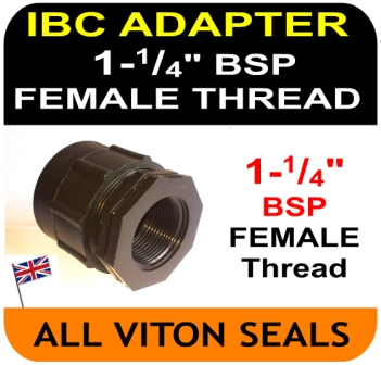 "IBC ADAPTER to Double Equal 1 and 1/4"" inch BSP FEMALE thread"